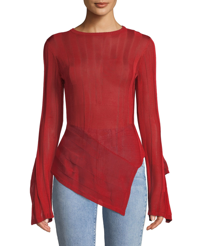 PALMER//HARDING Blaze Asymmetric Split-Sleeve Sweater in Red