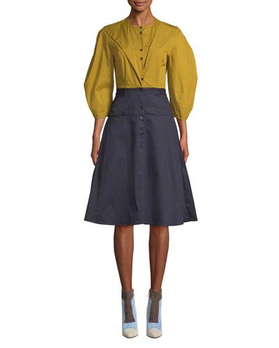 fragment crewneck button-front balloon-sleeve colorblock dress