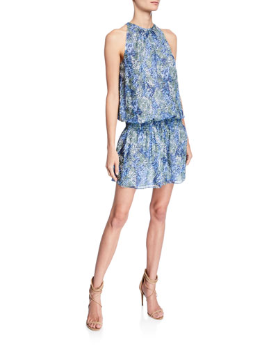 Paris Sleeveless Smocked-Waist Printed Mini Dress