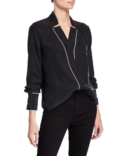 Notch Collar Silk Blouse with Piping