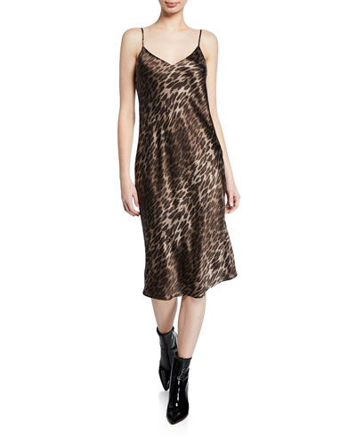Jodie Leopard V-Neck Silk Slip Dress