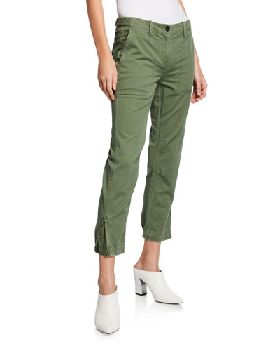 Cropped Utility Pants w/ Elastic Cuffs