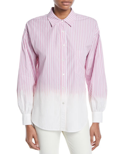 Striped Ombre Button-Down Shirt