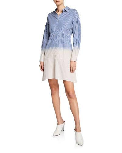 Striped Dip-Dye Cotton Shirt Dress