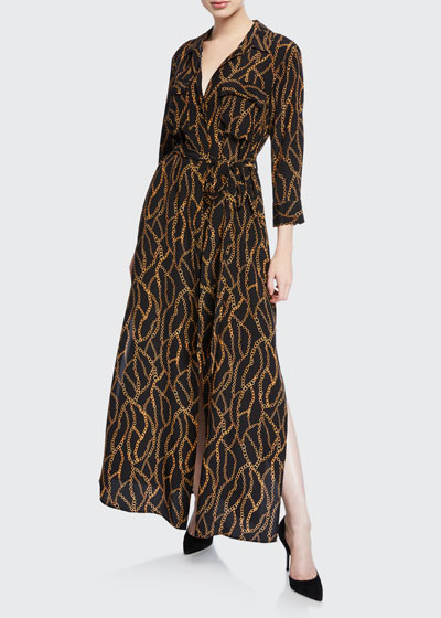 Cameron Long-Sleeve Belted Chain-Print Silk Shirtdress