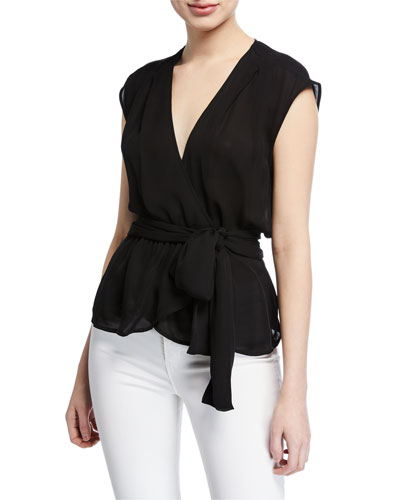 Clemence Shirred Tie-Waist Sleeveless Wrap Blouse