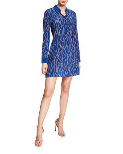 Estelle Chain-Print Mini Shirt Dress