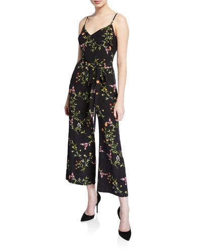 Jaelyn V-Neck Cami-Top Straight-Leg Floral-Print Silk Jumpsuit
