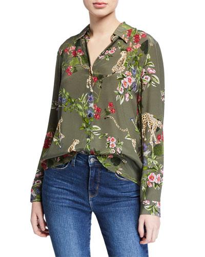Nina Long-Sleeve Cheetah & Floral Silk Blouse