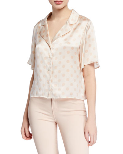 Theo Boxy Dot-Print Cropped Blouse