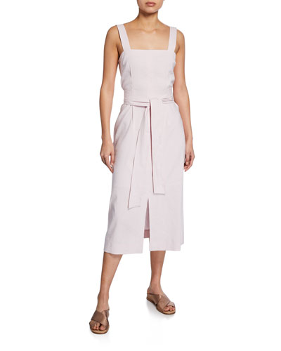 Belted Wide-Strap Dress with Slits