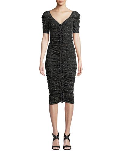 1f4619645e10f Romana Ruched Dot-Print V-Neck Midi Cocktail Dress