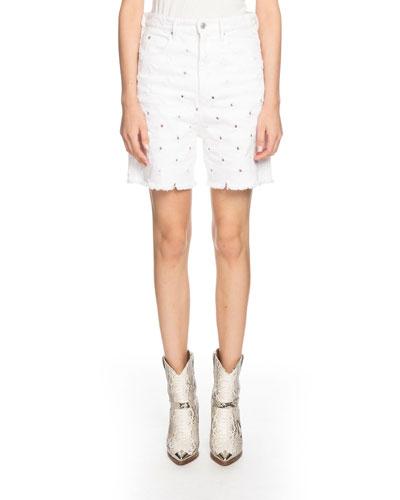 Liny Mid-Rise Frayed Denim Shorts with Holes