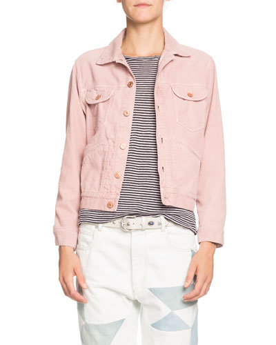 Foftya Cropped Corduroy Button-Front Jacket