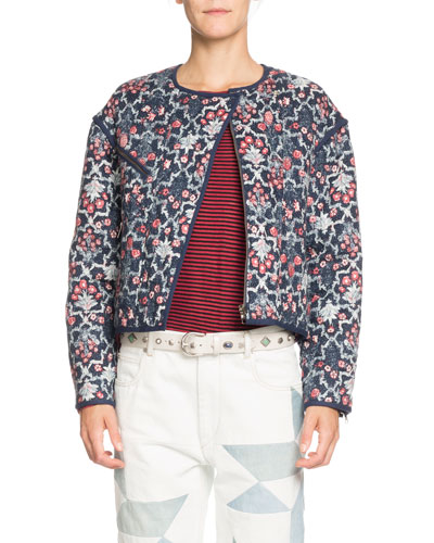Manae Floral Quilted Linen Moto Jacket