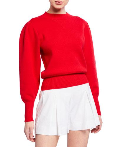 Kelaya Puff-Sleeve Crewneck Sweater