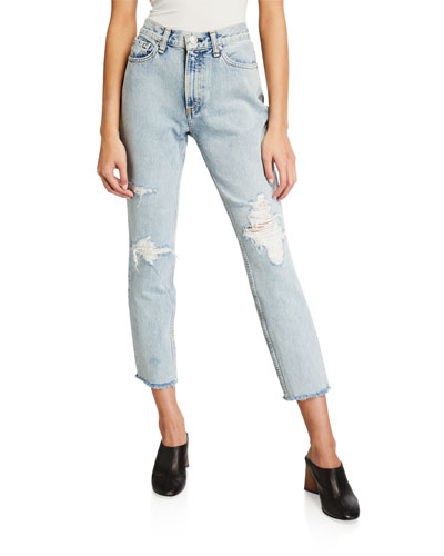 High-Rise Distressed Ankle Skinny Jeans