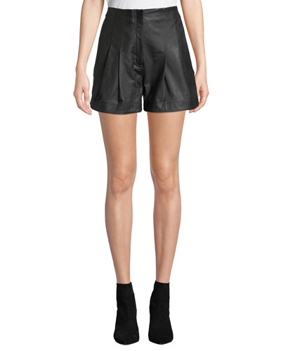 Julian High-Rise Pleated Leather Shorts