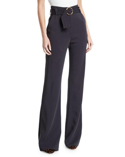 Warner Belted Wide-Leg Pants