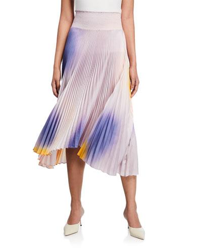 Sonali Pleated Asymmetrical Midi Skirt