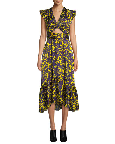 756db308d Valencia Cutout Floral-Print Silk Dress