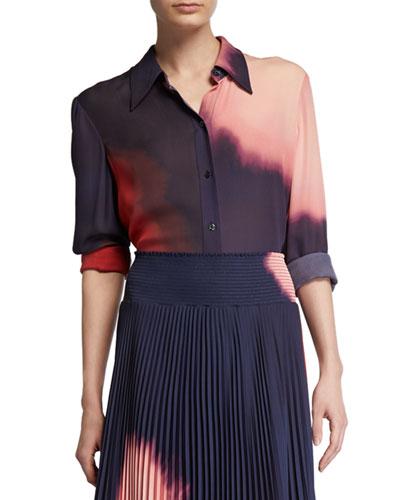 Jayne Silk Button-Up Top
