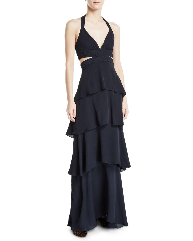 A.l.c Dresses Lita Tiered Silk V-Neck Maxi Dress, DARK BLUE