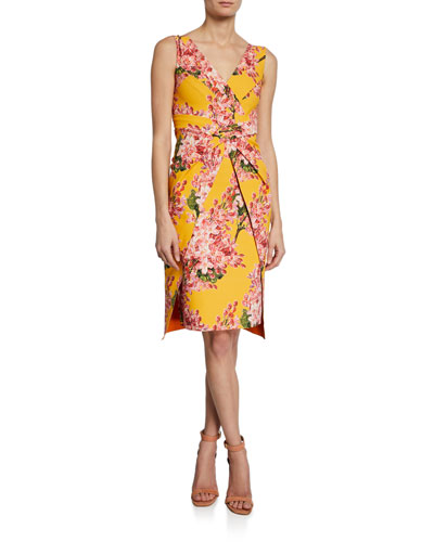 Floral-Print V-Neck Sleeveless Dress with Overlay Skirt