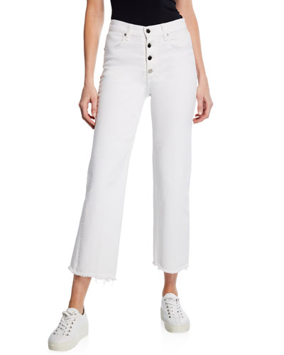 Justine Cropped Wide-Leg Jeans with Button Fly