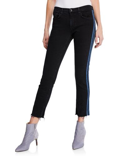 Ankle Dre Mid-Rise Skinny Jeans w/ Side Stripes