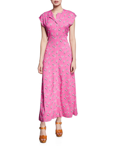 Chrysantha Printed Short-Sleeve Long Dress