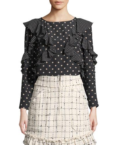 Dot-Print Silk Long-Sleeve Ruffle Top