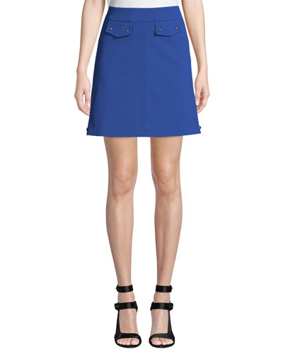 Side-Split A-Line Mini Skirt with Button Details