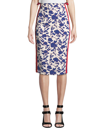 High-Rise Floral Side-Stripe Pencil Skirt