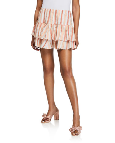 Anabelle Striped Ruffle Mini Skirt