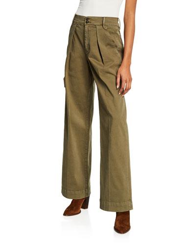 Stretch-Cotton Wide-Leg Trousers