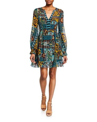 Cactus Flower V-Neck Long-Sleeve Dress