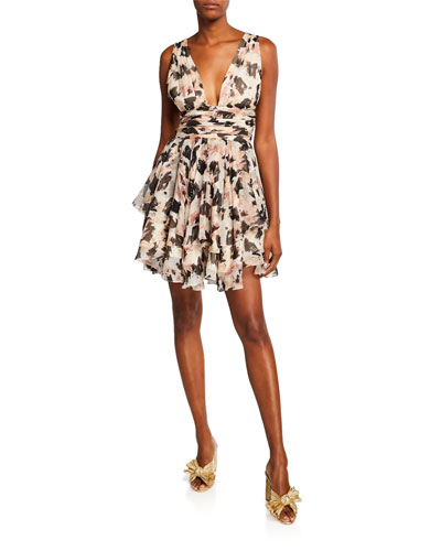 Paros Printed Tiered Plunging Mini Dress