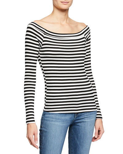 Striped Bateau-Neck Long-Sleeve Top