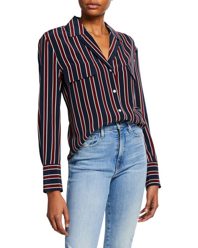 Striped Flap-Pocket Silk Button-Front Top