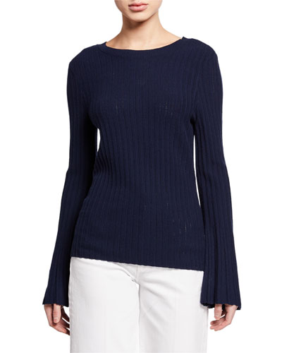 Bell-Sleeve Crewneck Sweater