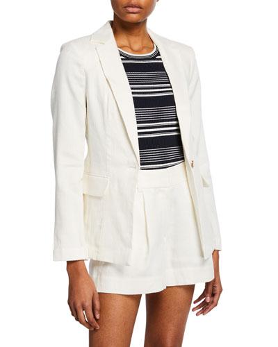 Fine Classic Single-Button Linen Blazer