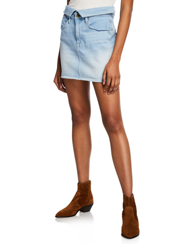 Le High Mini Fold-Over Denim Skirt