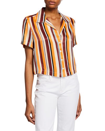 Mini Striped Button-Front Short-Sleeve Shirt