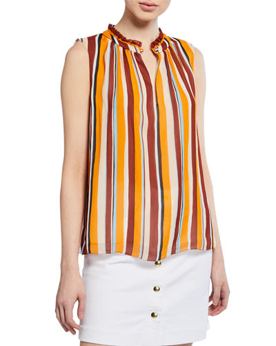 Sleeveless Striped Raglan Top