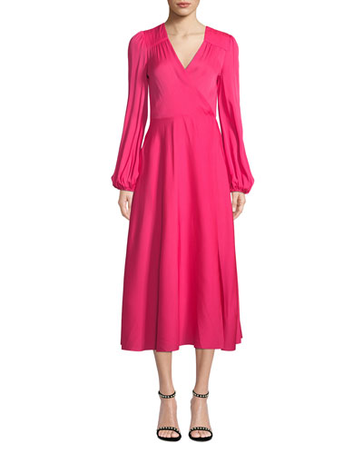 6818cab082e945 Gina Long-Sleeve Stretch Silk Midi Wrap Dress Quick Look. Milly