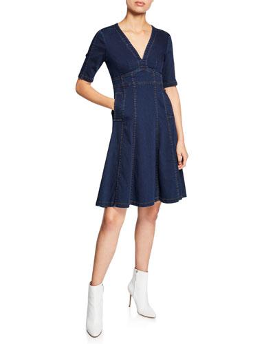 Explorer V-Neck Short-Sleeve Denim Dress