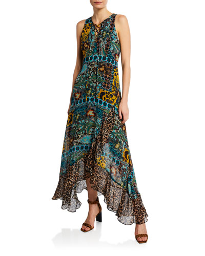 Exotic Sleeveless Lace-Up Multi-Print Maxi Dress