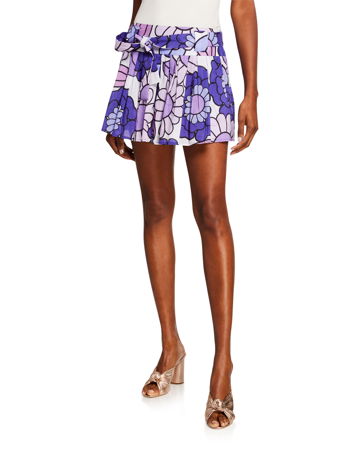 Dodo Bar Or Skirts MILLI PLEATED FLORAL-PRINT BELTED MINI SKIRT