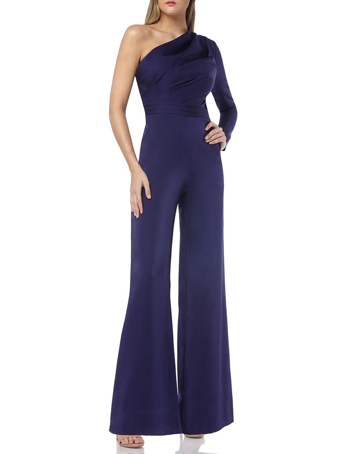 Kay Unger Suits One-Shoulder Draped Palazzo Jumpsuit, BLUE